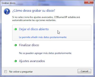 CDBurnerXP Dejar el disco abierto
