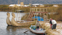 Reed boats on the Floating Islands (Los Uros)