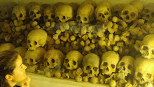 Many skulls in the crypt underneath the altar of the cathedral.