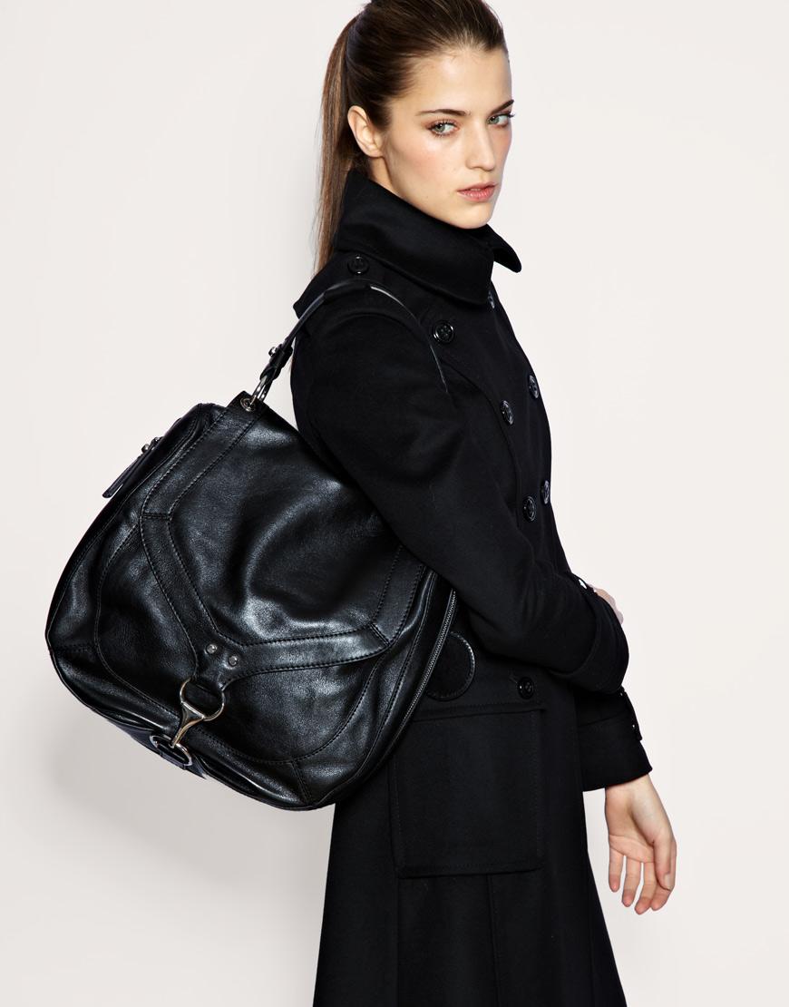 Karen Millen Black Leather Large Buckle Satchel Shoulder Sac Bag £185