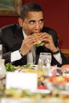 Obama s eating burgers