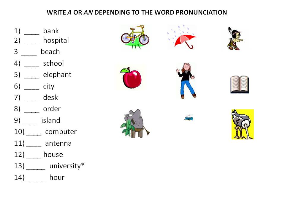 Indefinite Article Aan on Free Worksheets For Grade 3 English
