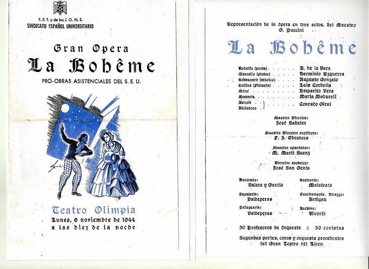 La bohême.  Última representació 28 febrer  1947