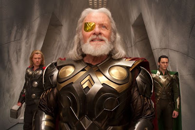 Hopkins in the role of Odin as well as Tom Hiddleston, on the right, as Loki - Thor Movie