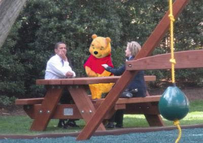 Barack Obama, Hillary Clinton, and Winnie the Pooh