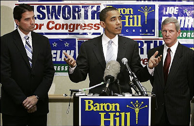 Brad Ellsworth, Barack Obama, and Baron Hill