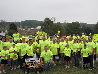 2010 Lanesville Heritage Weekend Parade - Rod Seelye, candidate for sheriff, and his army of walkers