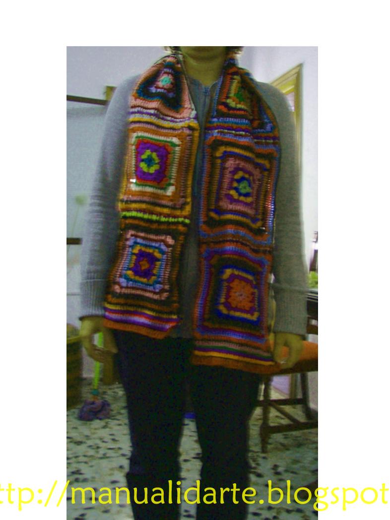 Manualidarte bufanda crochet hecha de restos de lana - Reciclar restos de lana ...