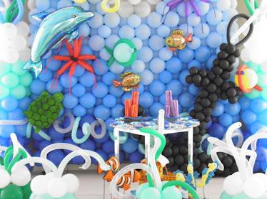 Peixinhos, balões metalizados, ouriços, polvo, ancora, algas