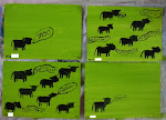 Postcards of the Mind Series: Black Angus on the Lime Green Grass (Series of 4)