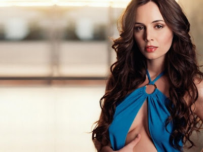 Eliza Dushku Wearing Very Sexy Blue Split Top Blouse In This Picture