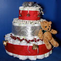 christmas themed baby shower diaper cake centerpiece - Christmas Themed Baby Shower