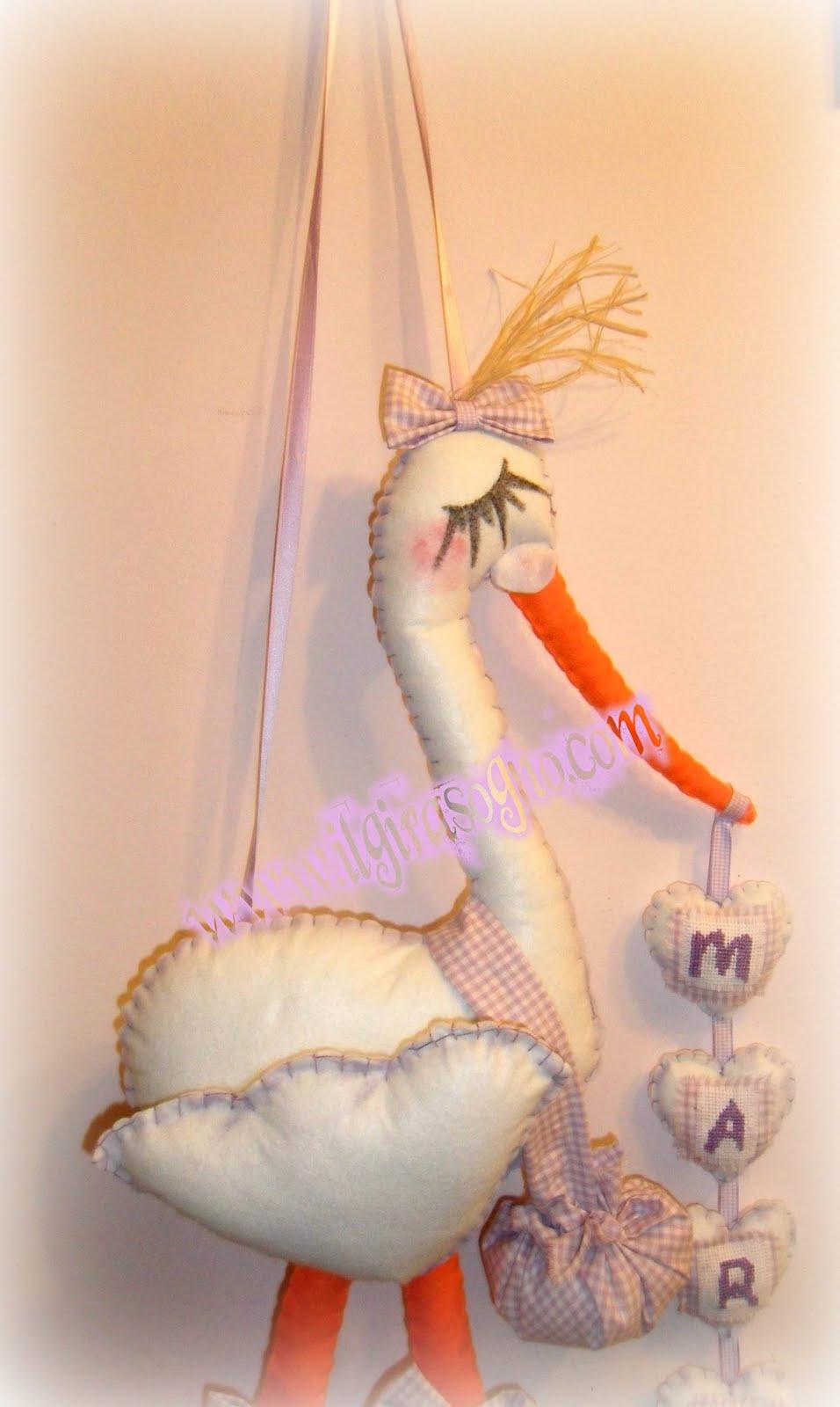 Ilgirasogno fiocco nascita cicogna per la piccola marta - Cicogna da giardino per nascita ...