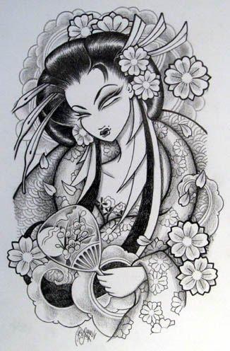 Label: Japanese geisha arm Tattoos, Japanese geisha Tattoo, Japanese geisha
