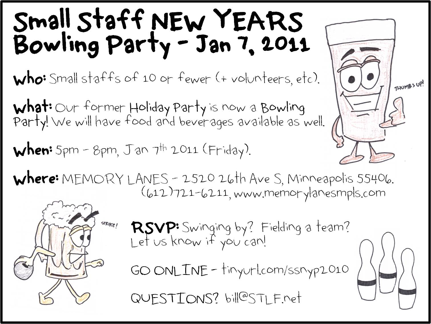 Minnesota Rising: Small Staff NEW YEARS Bowling Party!