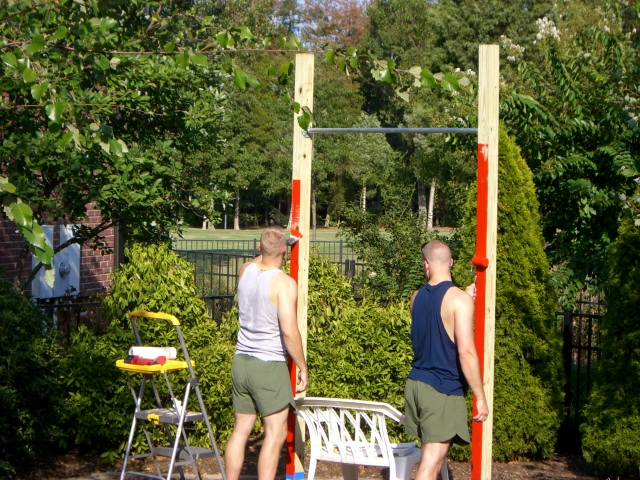 Painting the new pull-up bar