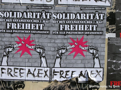 Soliplakate in Berlin für Alex und die Gefangenen vom 1.Mai