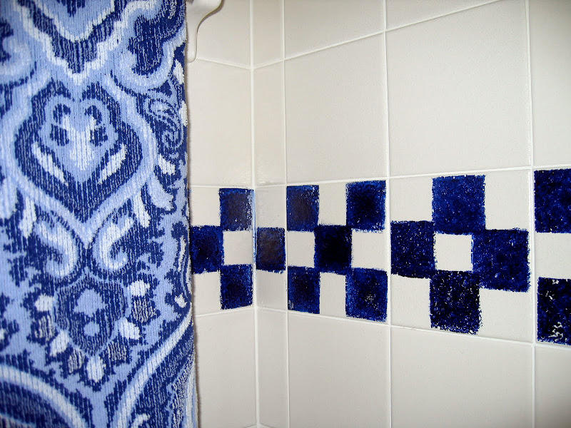 wanted a little check tile accent in the Jack and Jill bathroom, so  title=