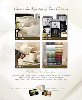 Linens 'n Things. Bridal Registry branding 2008. BiFold Brochure.