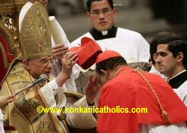 Archbishop Oswald Gracias Receiving the Cardinal's biretta (hat) from the Holy Father Benedict XVI