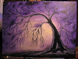 Purple Yellow Abstract Tree Painting