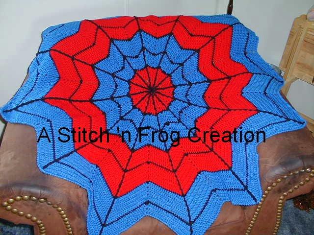 Free Spiderman Knitting Patterns : Stitch n Frog: Spidey-ghan AKA Superhero Dreamcatcher Afghan