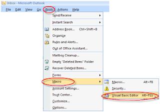 Outlook VBA Editor