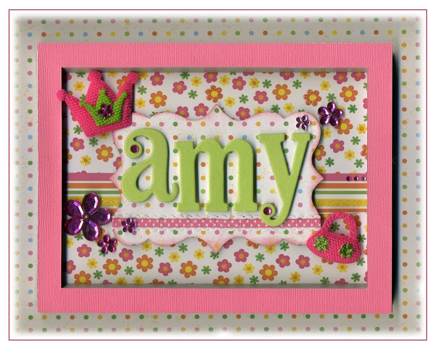 i used chipboard letters for the name layered all sorts of patterned paper from tpc studio and finished off with creative charms embellishments - Name Frames