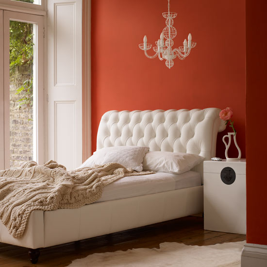 orange bedroom wall