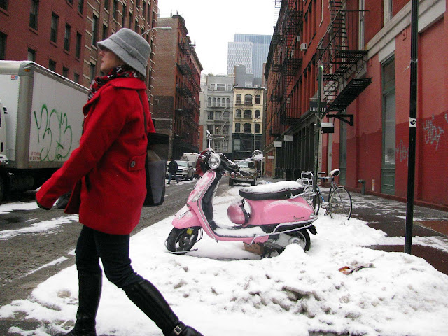 Pink-Vespa-and-Lady-in-Red-On-Grand-Street-in-Soho-NY