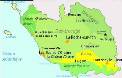 Les régions géographiques vendéennes