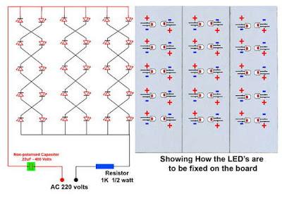 Pasang kaki-kaki lampu LED, kali panjang = + (plus) dan Kaki pendek
