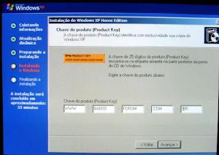 ... Download Aqui deve introduzir a chave do windows e clicar em seguinte