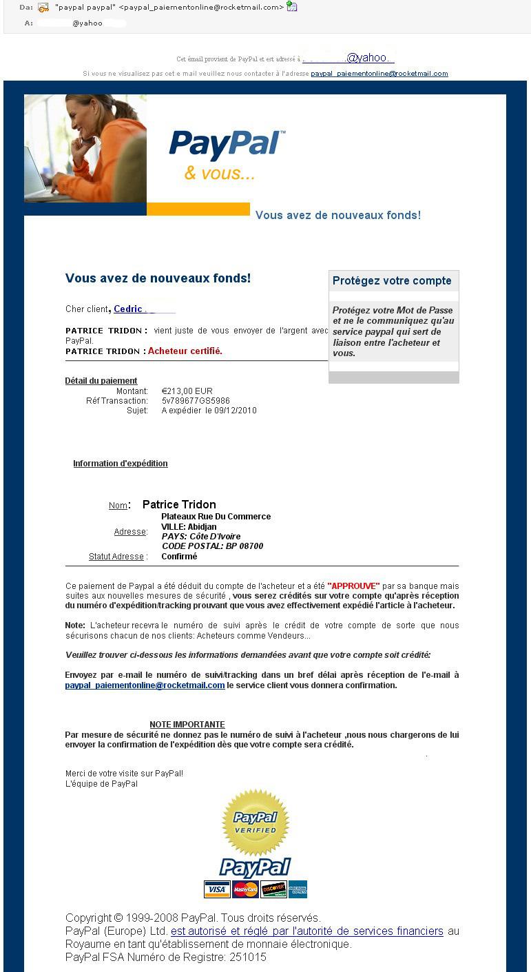 Cedric 39 s news arnaque paypal par email paiement effectu - Paiement paypal frais ...
