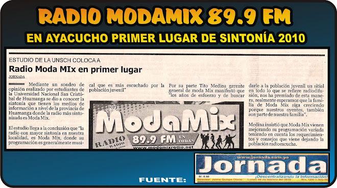 LA RADIO DE AYACUCHO MÁS SINTONIZADA www.modamixfm.com