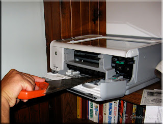 hubby fixing the printer