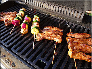 pork kabobs on the grill