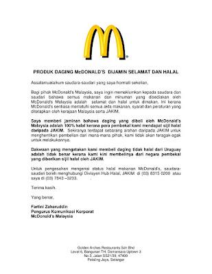 Daging McDonald Dijamin Selamat Dan Halal