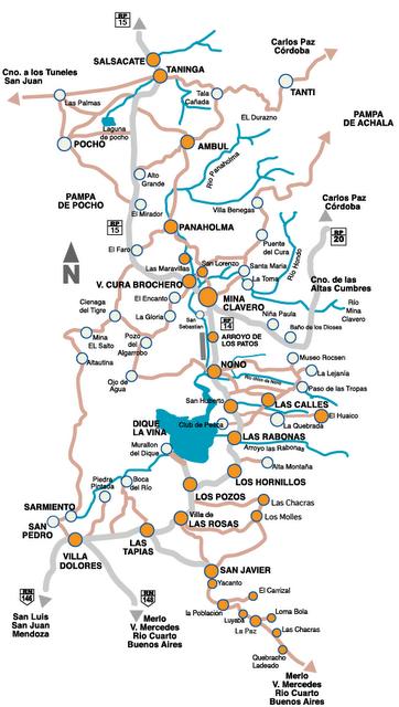 Mapa del Valle de  Traslasierra