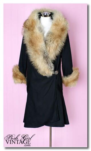 1920's Black Fur Travelling Coat
