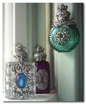 hanging perfume bottles