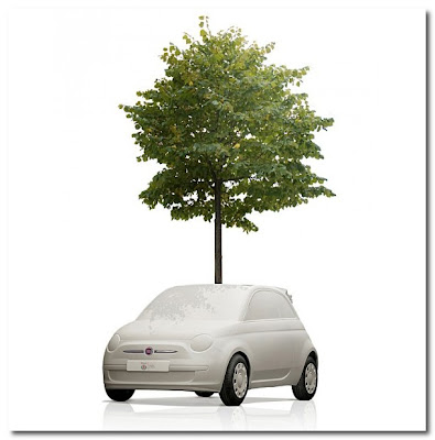 Fiat 500C's as tree planters in  milan