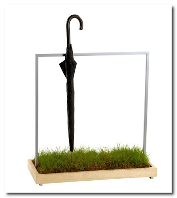 umbrella stand with grass