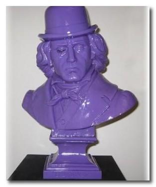 purple bust of ludwig van beethoven