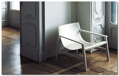 simple white leather chair