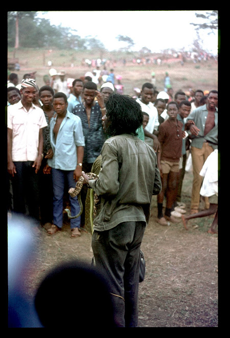 snake charmer at Koidu international market - 1969