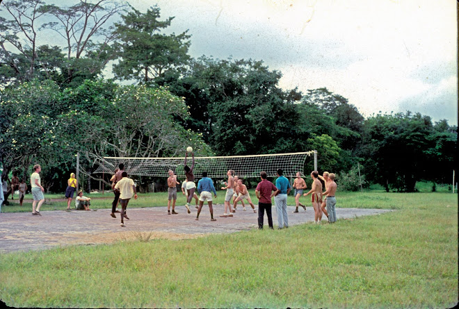 Peace Corps volunteers and Sierra Leone language instructors playing volleyball at Njala - 8/1968