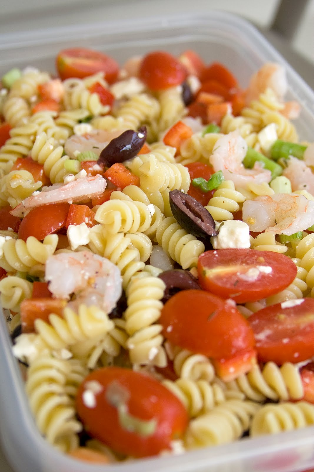 Just a bite: Greek Pasta Salad with Shrimp and Olives