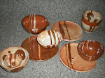Rust and white bowls