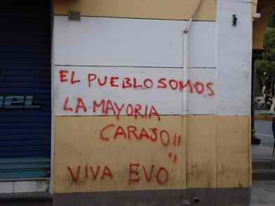 [Imagem]Pichação em muro, Bolívia, Cochabamba, apoio a Evo Morales. Foto de Alberto Montero